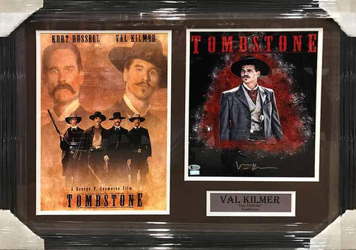 Val Kilmer Autographed 11x14 Doc Holiday Red Explosion Photo with Tombstone 11x17 Movie Poster - Professionally Framed