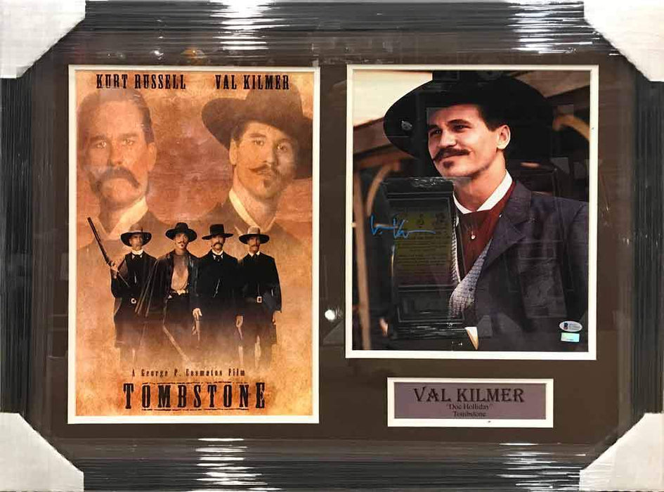 Val Kilmer Autographed 11x14 Doc Holiday Smiling Photo with Tombstone 11x17 Movie Poster - Professionally Framed