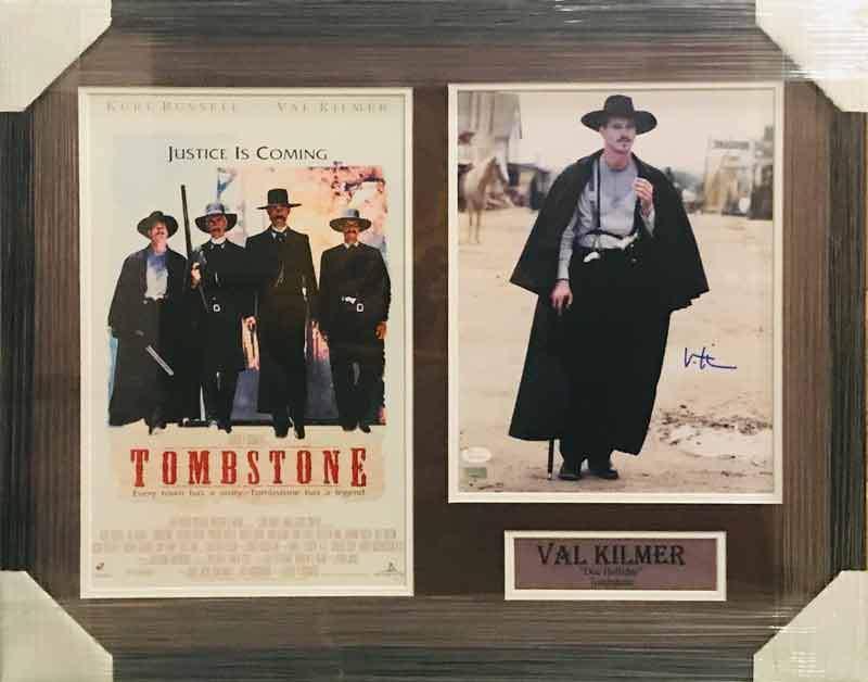 Val Kilmer Autographed 11x14 Photo with Tombstone 11x17 Movie Poster - Professionally Framed