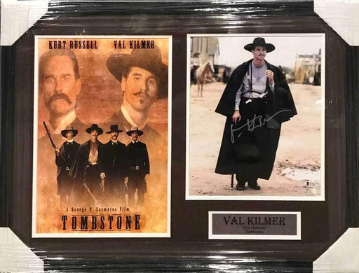 Val Kilmer Autographed Standing 11x14 Photo with Tombstone 11x17 Movie Poster - Professionally Framed Default Title