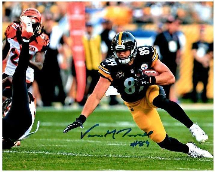 Signed STEELERS Photos Vance McDonald Signed Falling to the Ground Vs. Bengals 16x20 Photo
