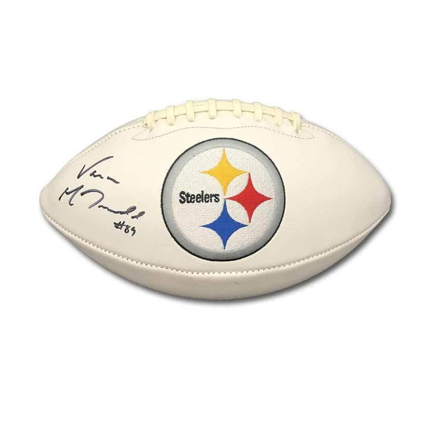 Signed STEELERS Balls Vance McDonald Signed Pittsburgh Steelers White Replica Football