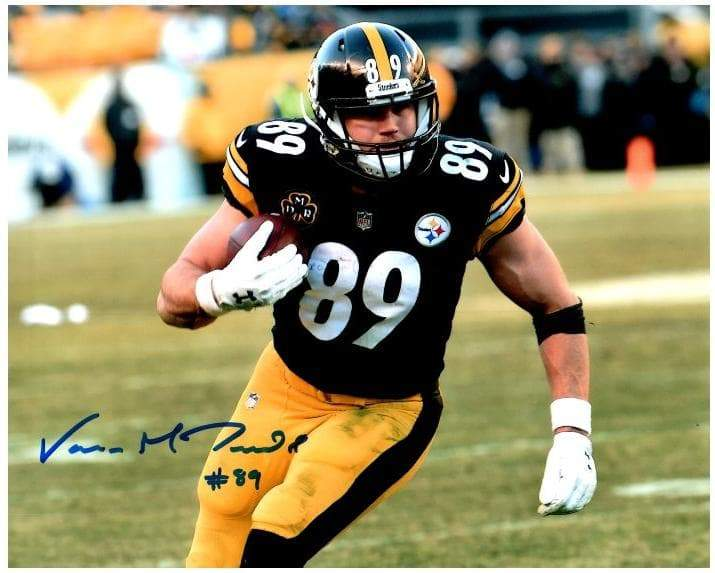 Signed STEELERS Photos Vance McDonald Signed Running with Ball 8x10 Photo