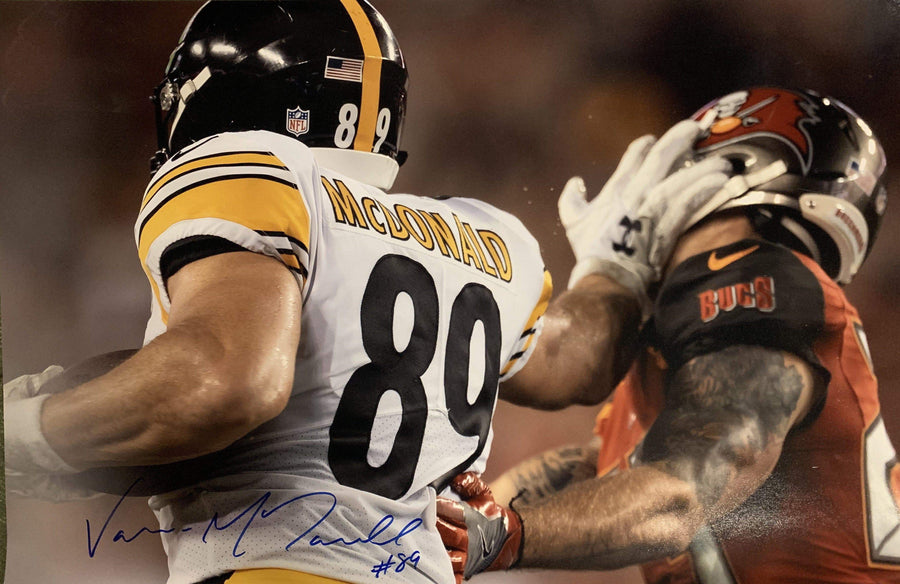 Vance McDonald Signed Stiff Arm, Hand in Face Vs Bucs 20x30 Photo