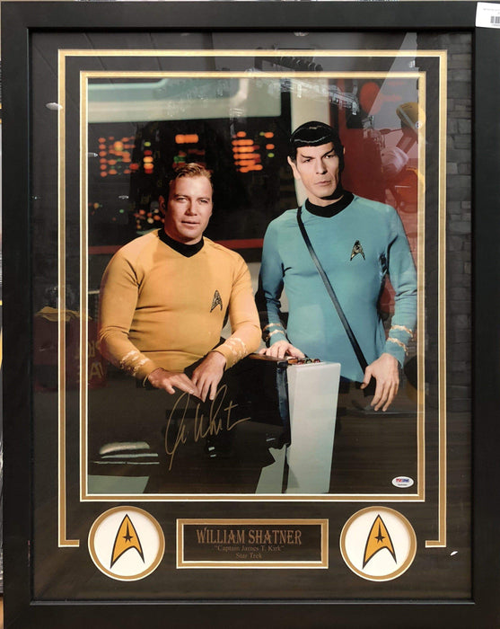 Signed Movie Photos William Shatner Signed Sitting with Spock 16x20 - Professionally Framed