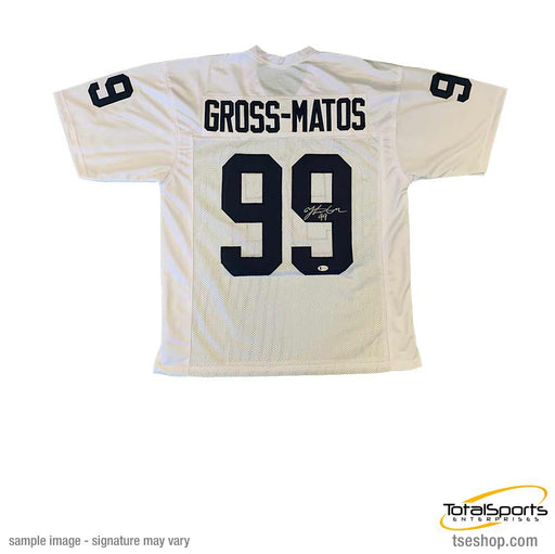 Yetur Gross-Matos Autographed Custom White College Jersey