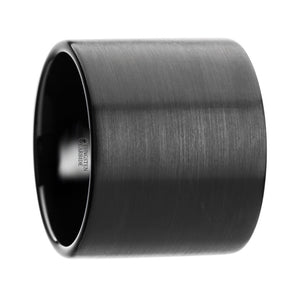 SAMURAI Flat Pipe Cut Black Tungsten Carbide Ring with Brushed Finish - 20 mm