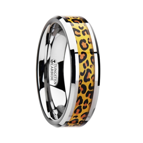 HUNTER Tungsten Wedding Ring with Cheetah Print Animal Design Inlay - 6mm & 8mm