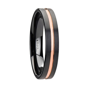 ANCONA Black Ceramic Wedding Band With Rose Gold Groove - 4mm - 10mm
