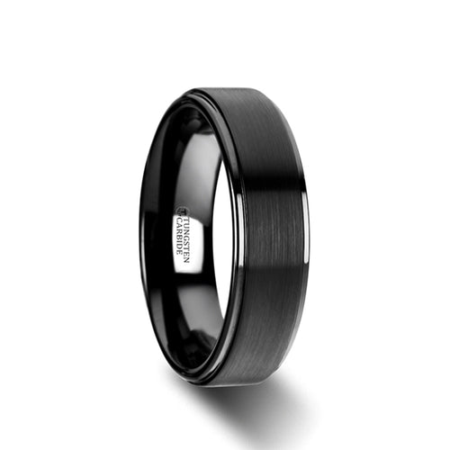 HARKER Flat Black Tungsten Ring with Brushed Raised Center & Polished Edges - 6mm & 8mm