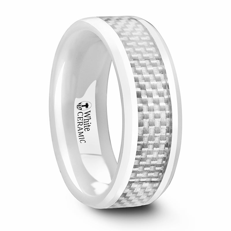 SADA Beveled Polished White Ceramic Ring with White Carbon Fiber Inlay - 8mm