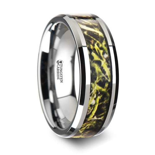 GATOR Tungsten Carbide Wedding Band with Green Marsh Camo Inlay Ring - 8mm