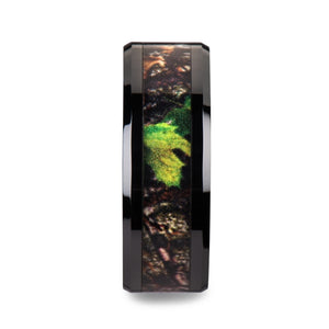 BURL Realistic Tree Camo Black Ceramic Wedding Band with Green Leaves - 8mm