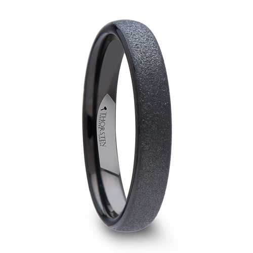 MIDNIGHT Domed Black Tungsten Carbide Ring with Sandblasted Crystalline Finish - 4mm & 8mm
