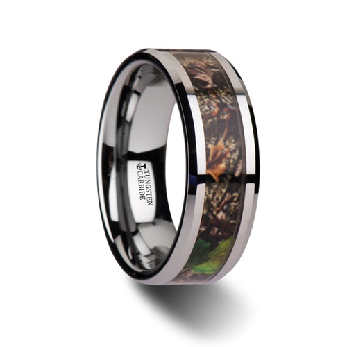 HICKORY Realistic Tree Camo Tungsten Carbide Wedding Band with Green Leaves - 8mm