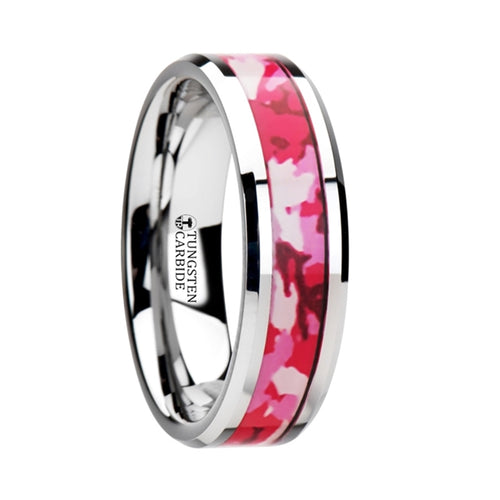 HUNTRESS Tungsten Wedding Ring with Pink and White Camouflage Inlay - 6mm & 8mm