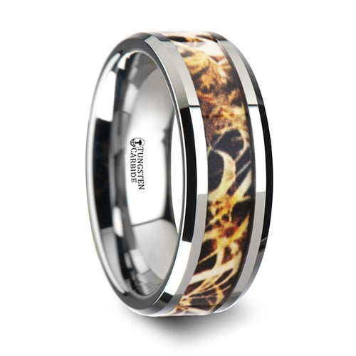 OAK Tungsten Carbide Wedding Band with Leaves Grassland Camo Inlay Ring - 8mm
