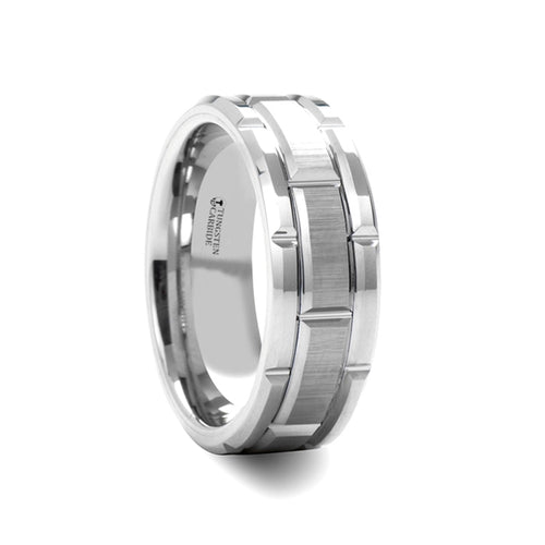 SINATRA Beveled Tungsten Carbide Wedding Band with Brush Finished Center and Alternating Grooves - 8mm