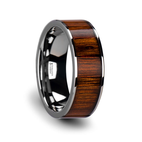 TAYLOR Flat Tungsten Carbide Wedding Band with Rare Koa Wood Inlay and Polished Edges - 6mm - 10mm