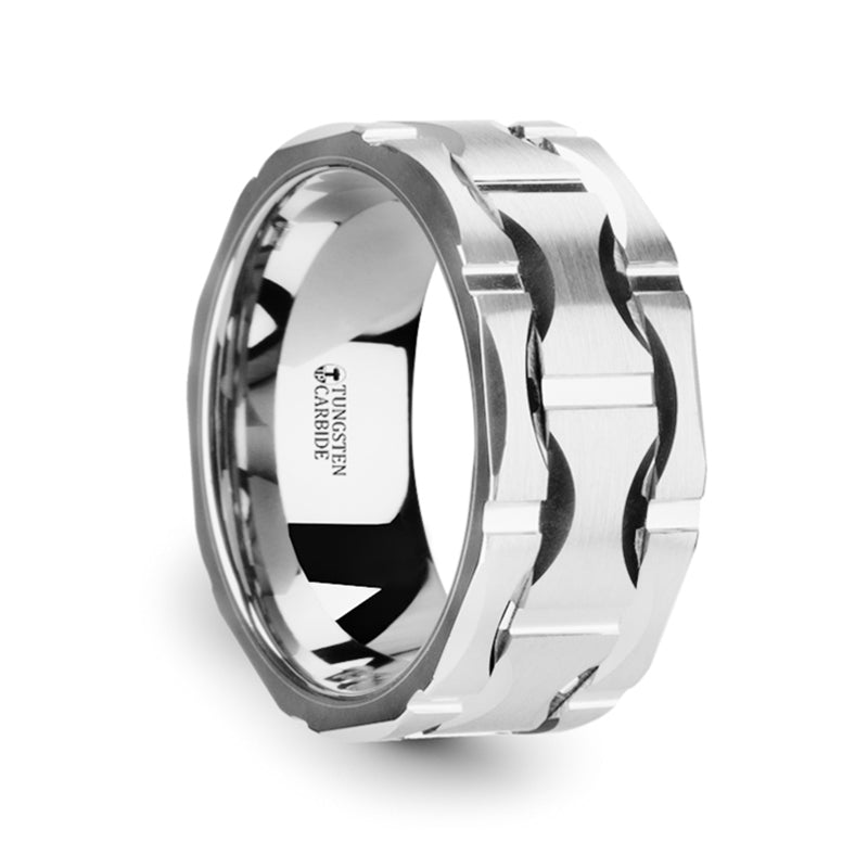 ADONIS Tungsten Carbide Wedding Band with Crescent Pattern and Brushed Finish - 10mm
