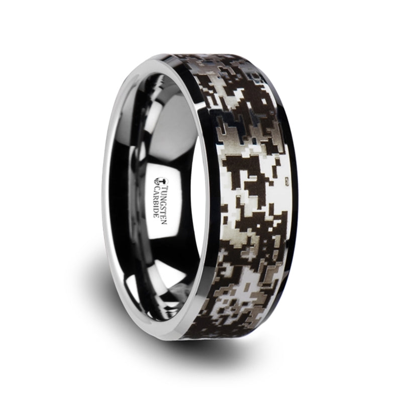 BLUR Tungsten Carbide Wedding Ring with Engraved Digital Camouflage - 8mm