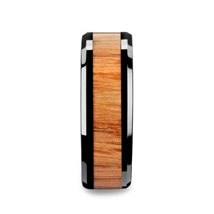 BOYE Red Oak Wood Inlaid Black Ceramic Ring with Bevels - 6mm - 10mm