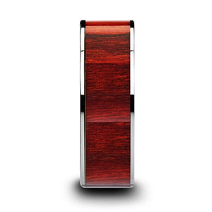 ROSEWOOD Flat Tungsten Carbide Band with Exotic Brazilian Rose Wood Inlay and Polished Edges - 8mm
