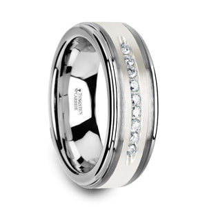 ASTAIRE Tungsten Wedding Band with Raised Center & Brushed Silver Inlay and 9 White Diamonds - 8mm
