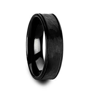 SMITH Hammered Finish Center Black Tungsten Carbide Wedding Band with Dual Offset Grooves and Polished Edges - 6mm & 8mm