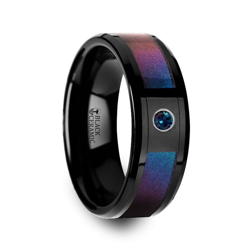 MULTICOR Black Ceramic Ring with Blue & Purple Color Changing Inlay and Alexandrite Setting - 8mm