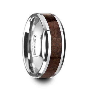 ELM Carpathian Wood Inlaid Tungsten Carbide Ring with Bevels - 8mm