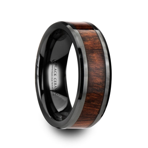CARPATHIAN Carpathian Wood Inlaid Black Ceramic Ring with Bevels - 8mm