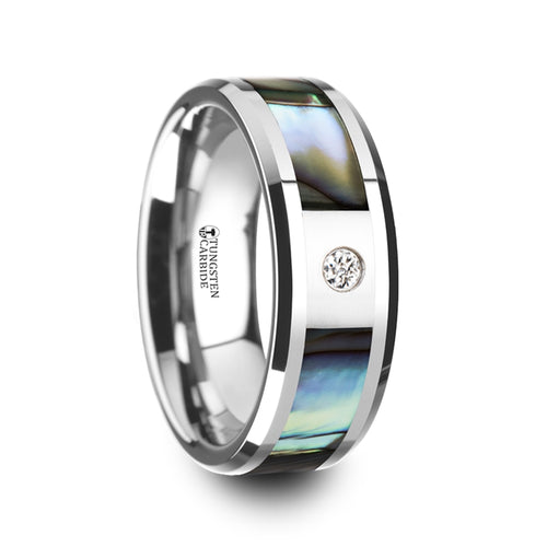 ASTER Mother of Pearl Inlay Tungsten Carbide Ring with Beveled Edges and White Diamond - 8mm