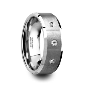 LOUIS Satin Finish Tungsten Carbide Wedding Ring with 3 White Diamond Setting and Beveled Edges- 8 mm