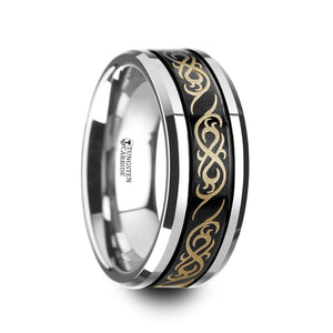 QUINN Black Tungsten Carbide Wedding Ring with Dual Offset Grooves and Laser Engraved Celtic Pattern Polished and Beveled Edges - 8mm