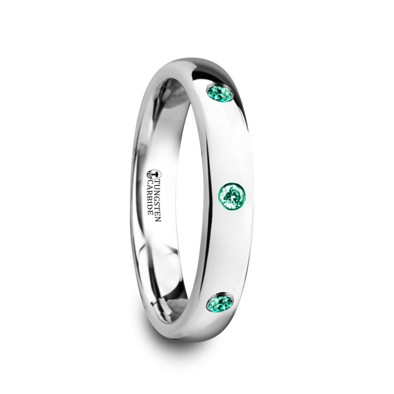 ODETTE Polished and Domed Tungsten Carbide Wedding Ring with 3 Green Emeralds Setting - 4mm