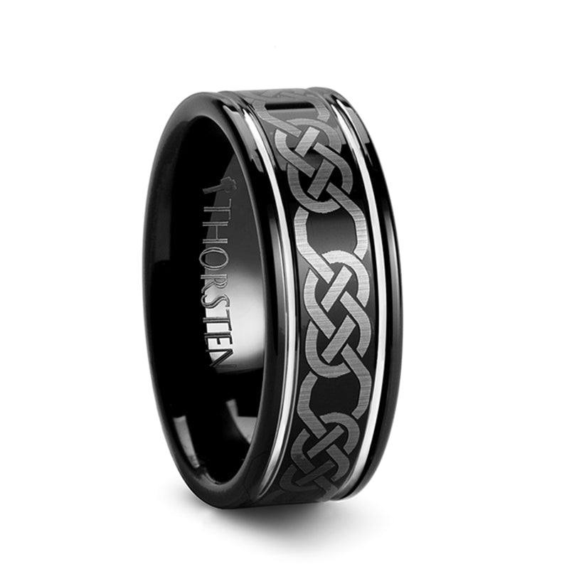 GALWAY Black Tungsten Carbide Ring with Celtic Pattern - 8mm