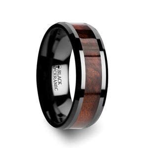 ARISE Redwood Inlaid Black Ceramic Ring with Beveled Edges - 8mm