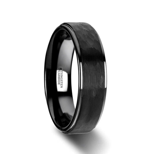 SOLO Raised Hammer Finish Step Edge Black Tungsten Carbide Wedding Band with Brushed Finish - 6mm & 8mm