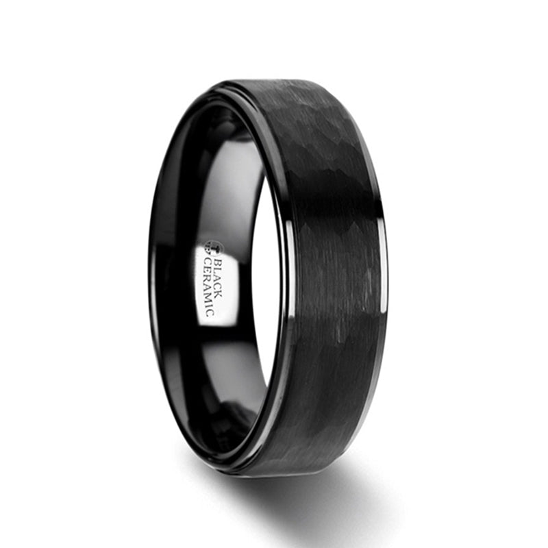 BURION Raised Hammer Finish Step Edge Black Ceramic Carbide Wedding Band with Brushed Finish - 8mm