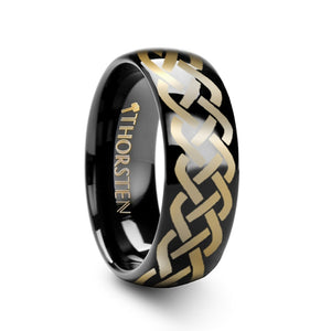 MURPHY Polished Domed Black Tungsten Ring with Celtic Knot Design - 4mm - 12mm