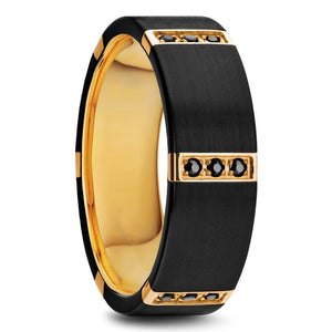 ATLAS Flat Brushed Black Titanium Ring with Gold Plated Inside and 6 Gold Plated Stainless Steel Bezels with Triple Black Diamond Setting - 8mm