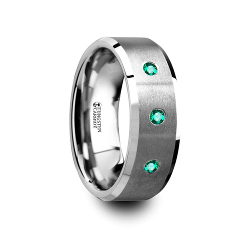 BYRON Brushed Tungsten Men's Wedding Ring with Polished Beveled Edges & 3 Emeralds - 8mm