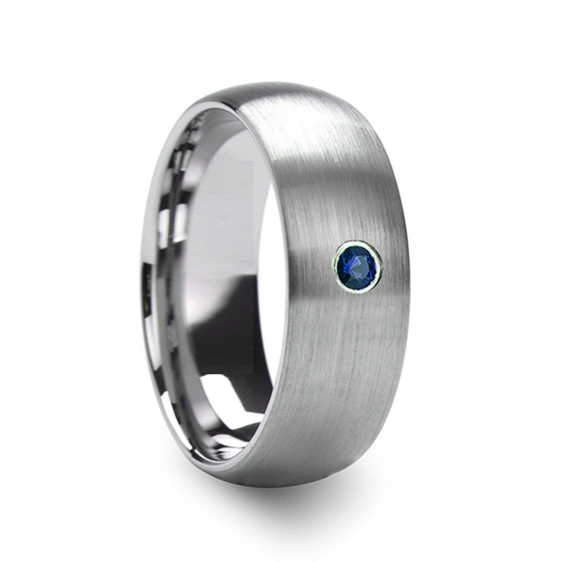 POSEIDON Men's Domed Brushed Tungsten Wedding Ring with Blue Diamond Center - 6mm & 8mm