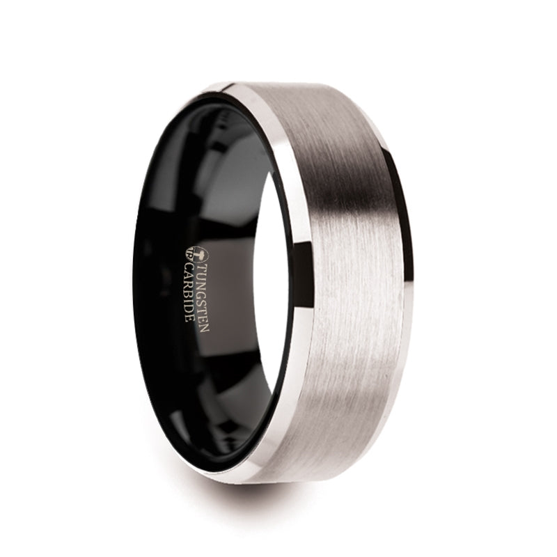 LORE White Tungsten Brushed Center Men's Wedding Ring with Polished Beveled Edges & Black Interior - 8mm