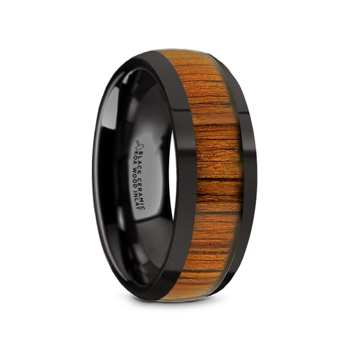 LIPPA Black Ceramic Polished Finish Men's Domed Wedding Band with Koa Wood Inlay - 8mm