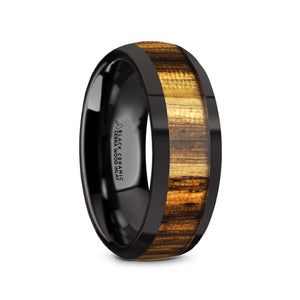 ZERRA Black Ceramic Polished Finish Men's Domed Wedding Ring with Zebra Wood Inlay - 8mm