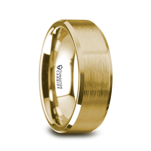 CHEVALIER Gold Plated Tungsten Beveled Polished Edges Flat Ring with Brushed Center - 8mm