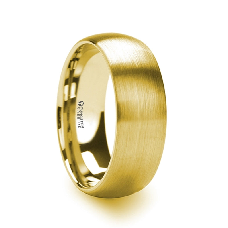 CAMPBELL Gold Plated Tungsten Domed Ring with Brushed Finish - 8mm