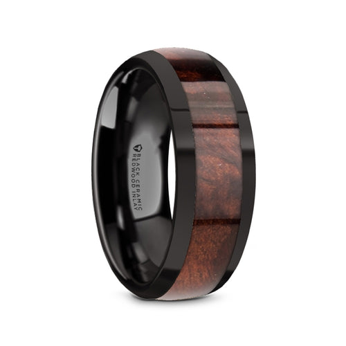 MAAZ Black Ceramic Polished Edges Men's Domed Wedding Band with Redwood Inlay - 8mm